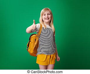 szkoła, pokaz, odizolowany, do góry, zielony, kciuki, uśmiechnięta dziewczyna