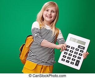 szkoła, pokaz, odizolowany, zielone tło, dziewczyna, kalkulator