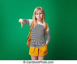 szkoła, pokaz, przeciw, na dół, zielony, kciuki, tło, dziewczyna
