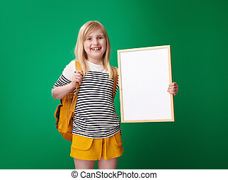 szkoła, pokaz, przeciw, zielony, deska, tło, czysty, dziewczyna