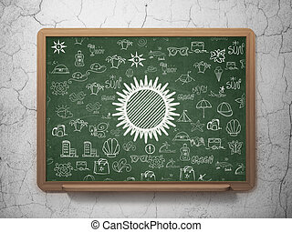 szkoła, słońce, podróż, deska, tło,  concept: