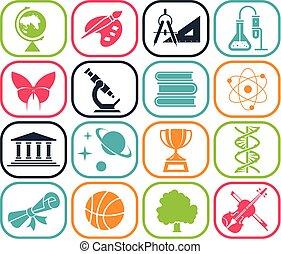 szkoła, school., piktogram, set., wstecz, days., ikona