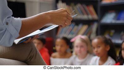 szkoła, sekcja, samica, średni, schoolkids, nauczanie, 4k, ...