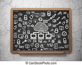 szkoła, sieć,  concept:, tło, bezpieczeństwo, chmura, deska