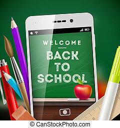 szkoła, smartphone, pozycje, -, wstecz, ilustracja, wektor, materiały piśmienne