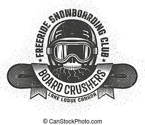 szkoła, stary, czaszka, snowboard, dzierżawa, snowboarding, logo, pęknięty