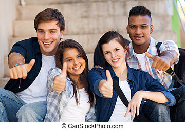 szkoła, studenci, do góry wysoki, udzielanie, kciuki