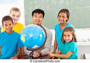 szkoła, studenci, kula, główny, nauczyciel, geografia