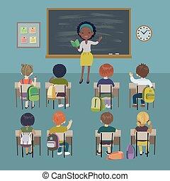 szkoła, studenci, mały, lesson., dzień, tło., amerykanka, nauczycielstwo, afrykanin, nauczyciel, classroom.