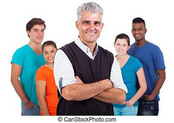 szkoła, studenci, wysoki, średni niemłody, nauczyciel