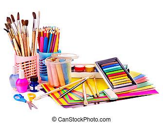 szkoła, supplies., wstecz