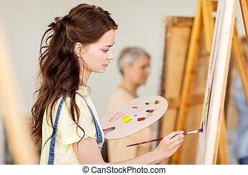 szkoła, sztaluga, sztuka, student, dziewczyna, malarstwo