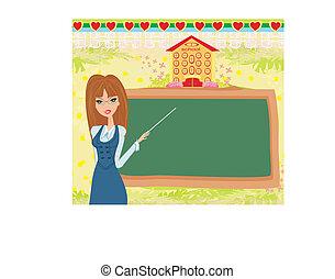 szkoła, tablica, abstrakcyjny, -, nauczyciel, ułożyć