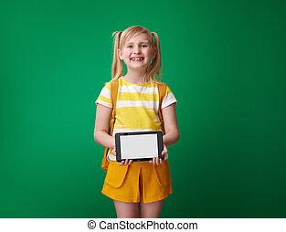 szkoła, tabliczka, ekran, pc, czysty, dziewczyna uśmiechnięta, pokaz