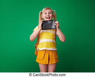 szkoła, tabliczka, pokaz, odizolowany, pc, zielony, czysty, dziewczyna, ekran