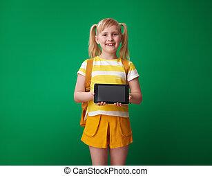 szkoła, tabliczka, pokaz, pc, czysty, dziewczyna, ekran, szczęśliwy