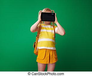szkoła, tabliczka, pokaz, pc, czysty, dziewczyna, ekran