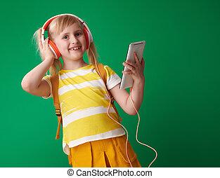 szkoła, tabliczka, słuchawki, pc, muzykować słuchanie, dziewczyna