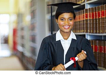 szkoła, uniwersytet, absolwent, ładny, afrykanin, prawo
