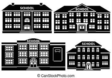 szkoła, wektor, komplet, zabudowanie., ikona