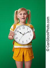 szkoła, zegar, pokaz, odizolowany, zielony, dziewczyna, zdziwiony