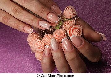 szlachecki, kwiaty, projektować, manicure, francuski