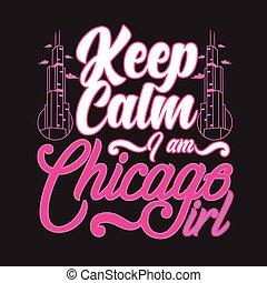 szlogen, idézőjelek, girl., tart, csendes, chicago, jó, print.