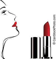 szminka, czerwony