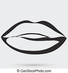 szminka, ludzie, symbol, usteczka, namiętność, pocałunek, ...