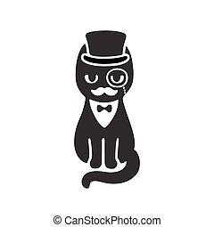 szmoking, macska, alatt, tető kalap