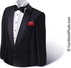 szmoking, suit., bow., elegáns