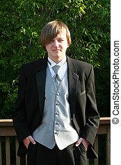 szmoking, tízenéves kor, magabiztos, portré