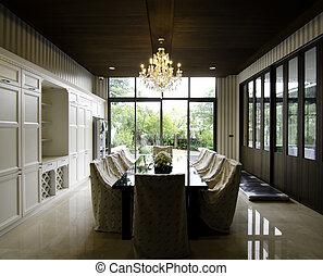 szoba, étkező, belső, kert, felügyelő