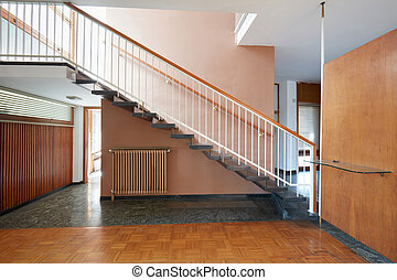 szoba, öreg, lépcsőház, emelet, faház, fekete, belső, márvány