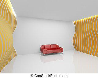 szoba, üres, pihenés