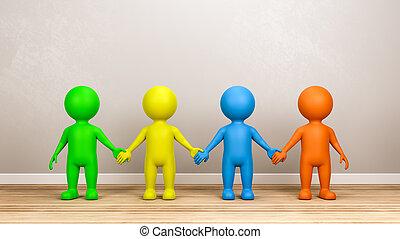 szoba, betűk, sokszínű, emberi kezezés, birtok, 3