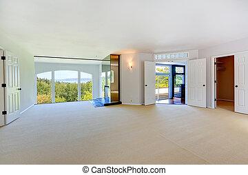 szoba, bolthajtás, fényes, ablak, kandalló, üres