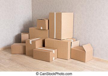 szoba, cölöp, dobozok, mozgató, új, üres