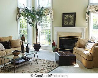 szoba, család, kényelmes