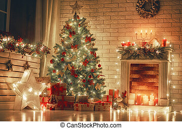 szoba, díszes, helyett, karácsony