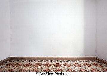 szoba, emelet, fal, cserép, belső, fehér, üres