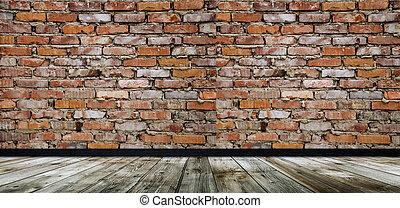 szoba, emelet, fal, fából való, üres, tégla, piros
