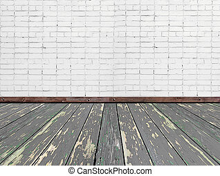 szoba, emelet, fal, fából való, belső, white tégla