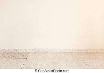 szoba, emelet, fal, tiszta, márvány, üres