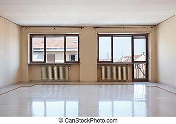 szoba, emelet, nagy, belső, márvány, üres