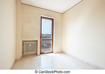 szoba, emelet, napos nap, márvány, üres