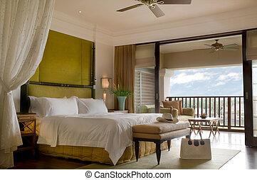 szoba, erkély, kíséret, ágy