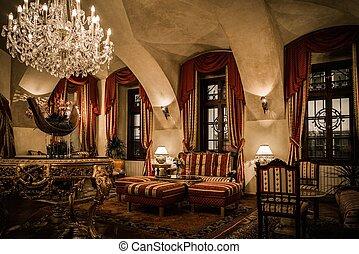szoba, fényűzés, belső