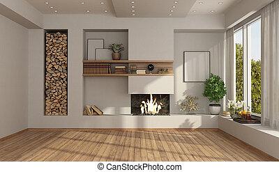 szoba, fehér, üres, kandalló