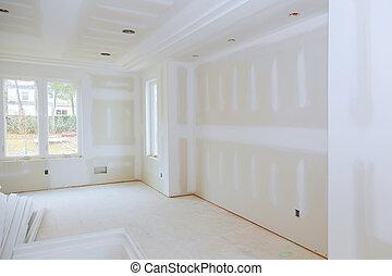 szoba, gerenda, fából való, nagy, fal, fehér, üres